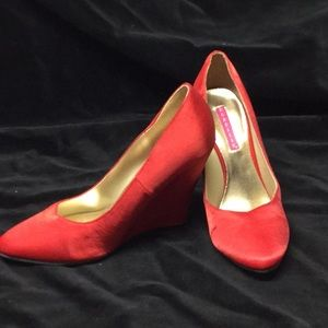 Shoes - Bordello red silk wedge shoes.